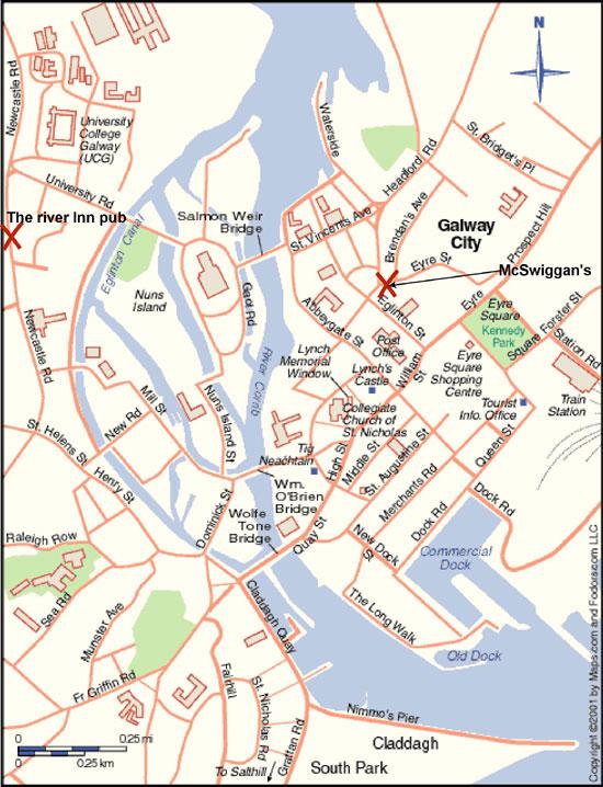City map Galway Ireland